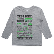 Yes I Bike Dark Grey and Green Duo Print - Kids Longsleeve Tee